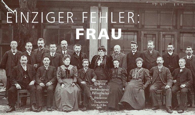 Es sind die ersten Tarifverhandlungen, die Paula Thiede (hinten in der Mitte stehend) 1906 mit ihrer 19-köpfigen Verhandlungskommission bestreitet