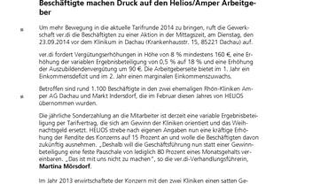 PM 23.09.14 Beschäftigte machen Druck auf den Helios/Amper Arbeitgeber