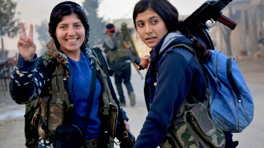 YPJ fighters during Operation Olive Branch.